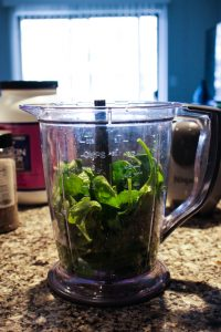 Spinach in a Blender, green smoothie